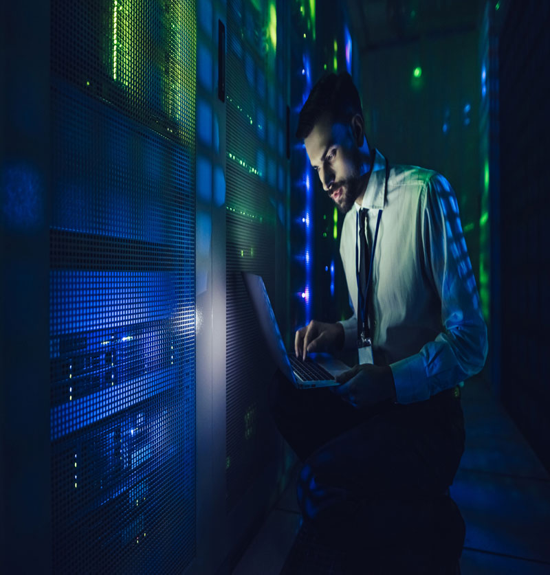 IT technician working on a server database